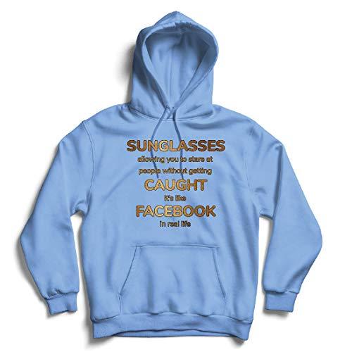 lepni.me Kapuzenpullover Lustiges Facebook-Angebot für Social Media im wirklichen Leben (Large Blau Mehrfarben)