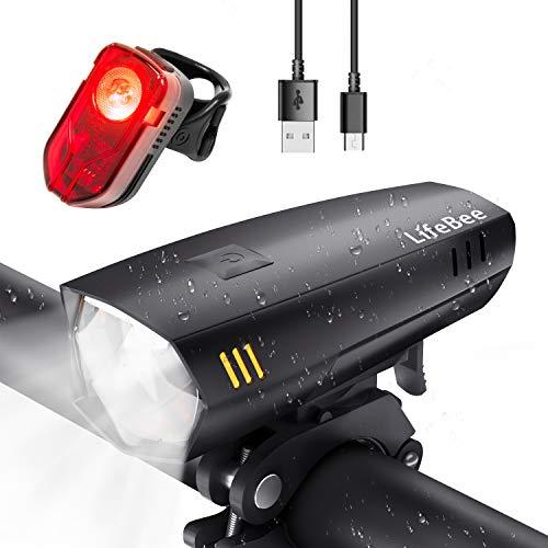 LIFEBEE LED Fahrradlicht Set, USB Wiederaufladbare fahrradlichter Fahrradbeleuchtung Set, IPX5 Wasserdicht Fahrradlampe Frontlicht und Rücklicht Set, mit 2 Licht-Modi für Fahrrad (schwarz)