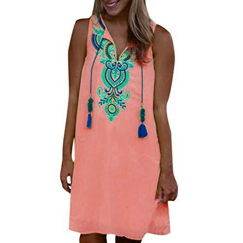 Lazzboy Frauen Beiläufiges Retro Druck Weinlese, Figurbetontes Party Minikleid Damen Leinenkleid Für Den Sommer V-Ausschnitt Kleid Boho Dress Sommerkleid Elegant Strandkleid(Rot,L)