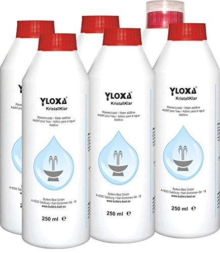 Butlers-Best Yloxa KristallKlar – Additif concentré pour l'Eau des fontaines, Murs, colonnes, Cascades et brumisateurs d'Eau pour l'intérieur et l'extérieur – Flacon de 6 x 250 ML
