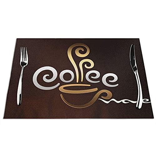 Kaffeetasse Willkommen Tischsets Hitzebeständige Tischsets rutschfeste Tischsets PVC-Tischset für Küchen-Esstisch Langlebige Matten für Restaurant-Tischgeschenke