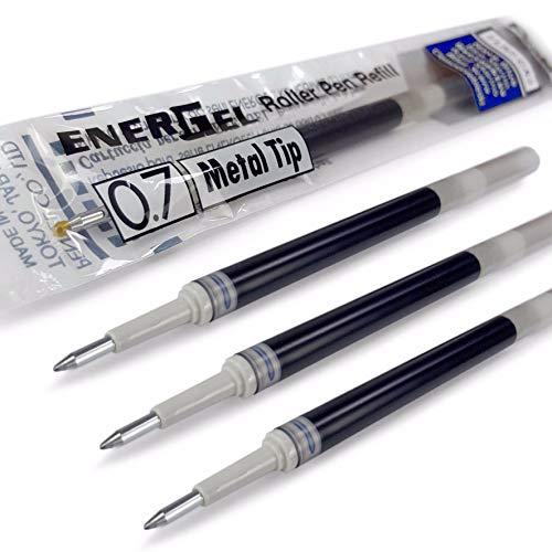 Pentel Energel- Lot de 4 recharges pour stylo à pointe métallique 0,7mm LR7- Compatible avec les stylos Energel Xm, BL77, BL57, BL37 - Bleu