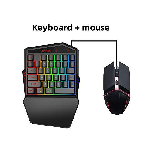 Mechanical Gaming Keyboard Plus Mouse, 35-Key Membraan Enkelhandige Bluetooth Keyboard, kleuren achtergrondverlichting ondersteunt verschillende linkshandige Gaming Toetsenborden, voor Windows-pc