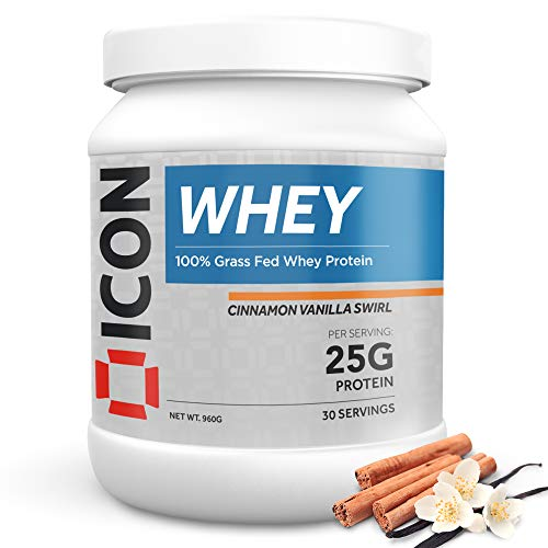 Whey Protein Powder Grass Fed Pure Low Carb Protein Shake - Hormone Free Non-GMO | 30 Servings (960g) - Cinnamon Vanilla Swirl
