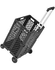 Praktische trolley Utility Carts - 4 Wielen Mesh Rolling Utility winkelwagen Folding Opvouwbaar Hand Krat Wheels Rolling Utility Winkelwagen Capacity Plastic Shopping Trolley Handig uw leven Handig en
