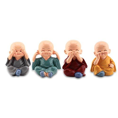 WINOMO 4 Stücke Kleine Mönch Figuren für Auto Tisch Haus Deko