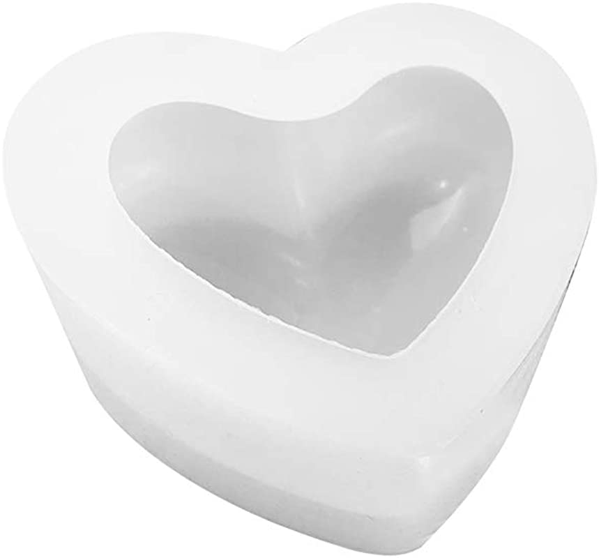 BuS9YIN4E 3D Love Heart Shape Minute Surface Silicone Mould Creative DIY Handmade Soap Aromatherapy Paste Cake Making Mould Small