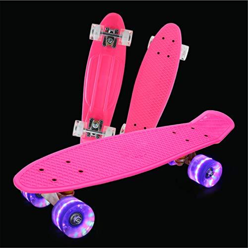He-shop Mini Cruiser Skateboard, Kids Beginners und Professional Skateboard Komplette Hartplastikplatte mit leuchtendem Rad Pink