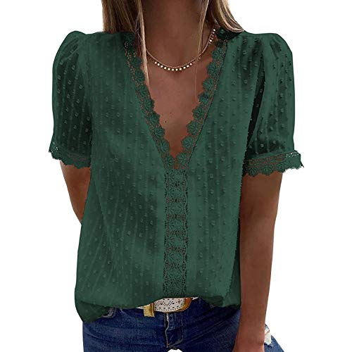 YANFANG Blusas de Mujer Elegantes,Camiseta Casual de Manga Corta con Encaje de Moda para Mujer Top de Color sólido con Cuello en V