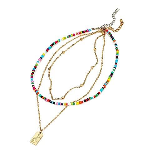 Collar gargantilla de cuentas multicolores para mujer, colgante cuadrado de Metal de Color dorado, collar de cadena con cuentas hecho a mano, joyería
