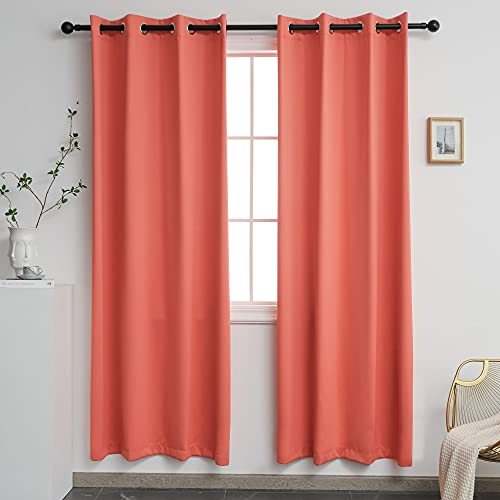 YGO Solid Thermal Insulated Grommet Blackout Window Curtain Panels for Nursery and Infant Care Coral Color 52 W x 72 L Set of 2 Panels