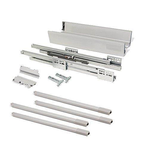 EMUCA - Kit de cajón para Cocina o baño con guias de extracción Total y Cierre Suave, Altura 204mm y Profundidad 500mm, Gris