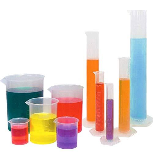 Buytra 5 Sizes Clear Plastic Graduated Cylinders (10 25 50 100 250ml) 5 Pack Plastic Beakers Set- 50, 100, 250, 500, 1000ML