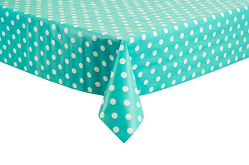 THE TABLECLOTH SHOP Duck Egg Polka Dot Vinyl Table Cover Tablecloth 2 Metres by Tablecloth Shop