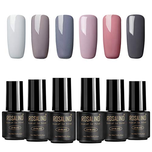ROSALIND Nagellack Gel Gellack UV Semi-permanent Soak Off Varnish Pastell Lack 6 Farben Hellgrau...