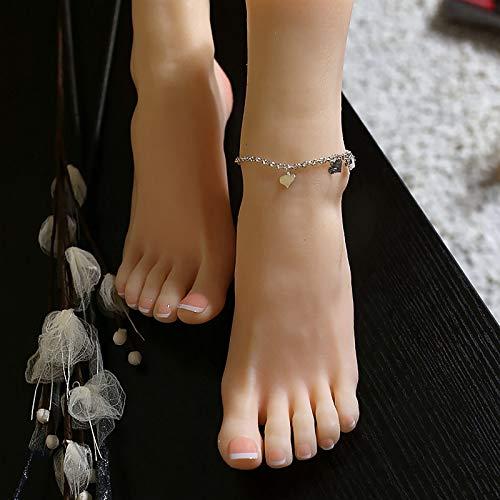 XIAOQIAO Silikon-Mannequin Fuß Weiches Silikon Schaufensterpuppenfuß in Lebensgröße Spielzeug-Silikon Schaufensterpuppenfuß (mit Nägeln) - Lebensechter, für Sketch Nail Art Practice (1 Paar)