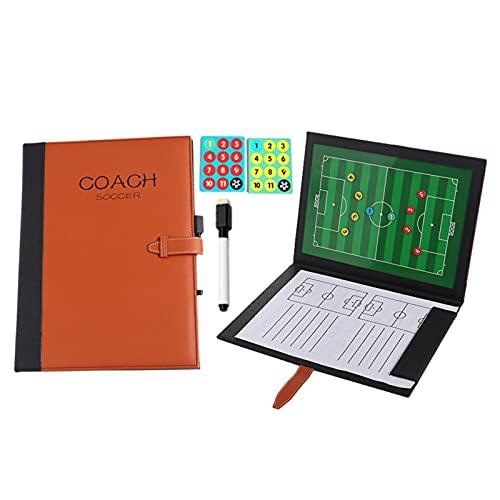 Cuaderno de notas de fútbol magnético para pisapapeles de táctica de fútbol, diseño mejorado, excelentes accesorios, disposición completa del campo de fútbol con rotuladores y goma