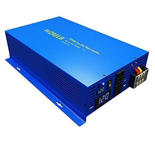 WZRELB Pure SINE Wave Inverter 2500 Watt (5000W Surge) 12V Power Inverter DC to 120 AC Car, Solar, Off-Grid, RV, Portable Power Supply