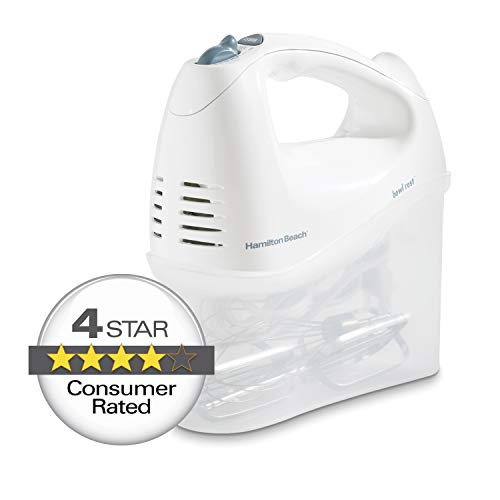 Hamilton Beach 6-Speed Electric Hand Mixer with Snap-On Storage Case, Wire Beaters, Whisk and Bowl Rest (62682RZ), 250W, White