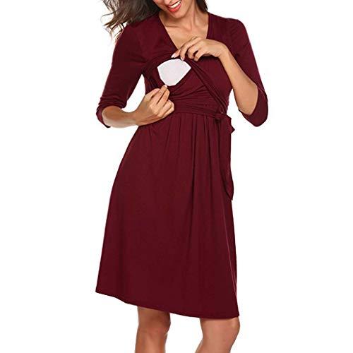 Allence Damen Umstandskleid Schwangerschafts Kleid für Schwangere Stillkleid V-Ausschnitt Nachthemd Langarm mit Taillengürtel