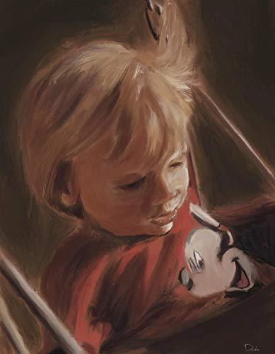 Pintura por Números para Adultos y niños Pintar Diy al óleo de Bricolajecon Marco Personalizado Kit Pinceles Personaje de Mickey Mouse de niño pequeño Principiantes Lienzo Decoraciones 40X50CM