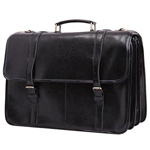 Leathario Herren Echtleder Aktentasche Arbeitstasche Businesstasche Laptoptasche Messenger Bag Bürotasche Umhängetasche Schultertasche Handtasche Unitasche Henkeltasche, Schwarz