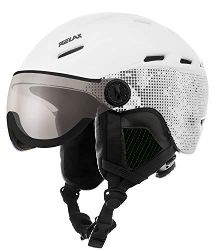 Relax Skihelm Prevail mit Visier   Snowboardhelm   Skihelmet   Race-Helm für Damen und Herren (weiß/schwarz, S(54-56cm))