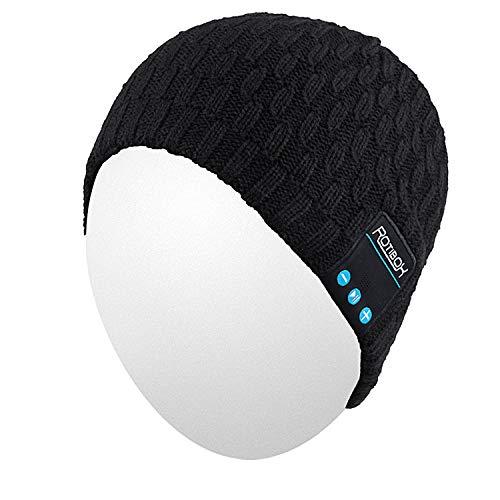 Gorro Qshell Bluetooth, lavável para inverno, masculino, feminino, chapéu de corrida com fones de ouvido estéreo Bluetooth, microfone e bateria recarregável para esportes ao ar livre, snowboard, caminhada, corrida, patinação, preto