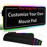 Personalized RGB LED Gaming Mouse Pad Make Your Own Customized Large Gaming Mousepad Custom Mouse Mat for Office Dorm Personalised Gifts Presents for Gaming Lovers, 31.5x11.8in