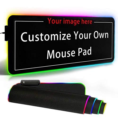 Naisde Großes LED-RGB-Gaming-Mauspad (800 x 300 x 4 mm), Personalisierbares Mauspad, Wasserdicht, Rutschfest, Schreibtischunterlage mit 12 Beleuchtungsmodi, für PC, RGB-Tastatur Unterstützt Anpassung