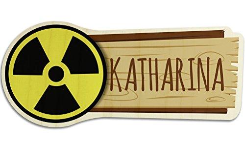 printplanet Türschild aus Holz mit Namen Katharina - Motiv Radioaktiv - Namensschild, Holzschild, Kinderzimmer-Schild