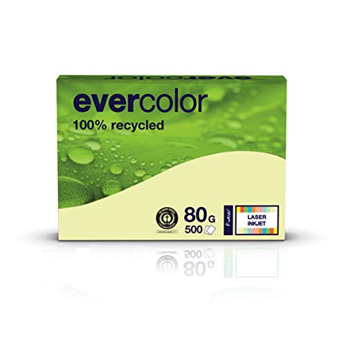 Clairfontaine farbiges Druckerpapier, Recycling-Papier Evercolor: 80 g/m², A4, 500 Blatt, hell-gelb
