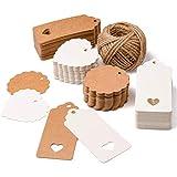 SuMille 200 piezas Etiquetas regalo etiquetas papel kraft de regalo de...