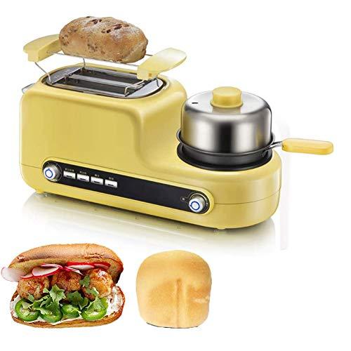 LXTIN 3 in1 Brotbackmaschine, Multifunktions-Frühstücksmaschine Kaffeekanne Bratpfanne Ofen Brotbackmaschine Brot Toaster Spiegelei Kaffeekocher
