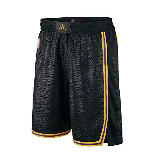 Los Angeles Lakers Basketball-Shorts für Herren, Jugendliche, Straßen-Mode, atmungsaktive Netz-Shorts, Fitnessstudio, athletisch, Freizeit-Sport-Shorts. XL Schwarz