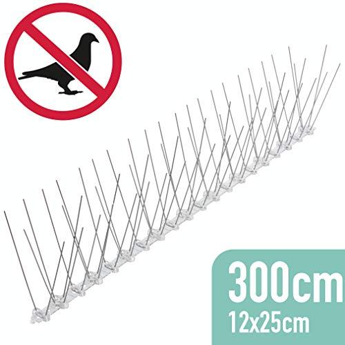 riijk 3 Meter Taubenabwehr vormontiert: Vogelspikes/Vogelgitter als Taubenschreck und Vogelschutz - tierschutzkonform