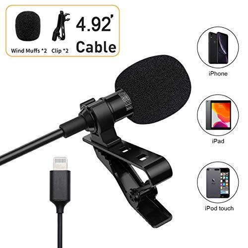 Hagibis Professional Grade Omnidirectional Ultra-Compact Clip Microphone for iPhone/iPad/iPod Touch Series for Podcast/YouTube/Interview/Vlog/Video/Lecture Recording (4.92ft Black) (Black)