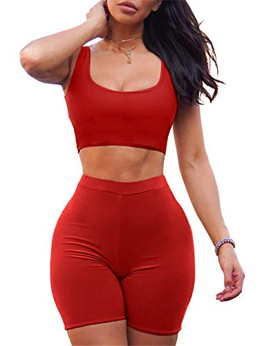 GOBLES Women's Sexy Bodycon Tank Crop Top Shorts Sets Club 2 Piece Outfits Red