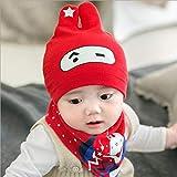 Kindermütze, Strickmütze für Kleinkinder, Babymütze 0-12 Monate - roter Anzug mit einem Auge
