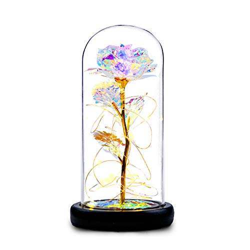 NAWEIDA Galaxy Rose Flower Gift, Infinity Rose in Glass Dome with USB,Automatic Color Change Led Light String on The Crystal Rose,Unique Gifts for Women, Christmas, Valentine's Day, Anniversary