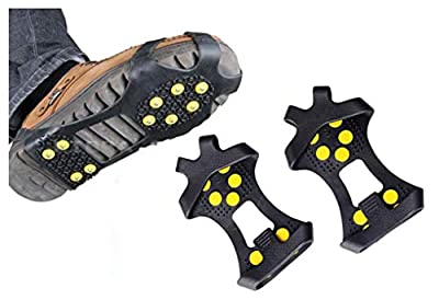 Toasis Ice Grips Snow Spike Crampons Traction Cleats Stud Grippers for Shoe Boot (S (Shoes Size:Kid 11-3))
