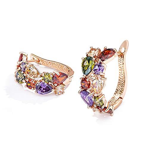 Shiny Dangle Earrings Circle Zirconia Leverback Earrings Stylish Elegant Earrings Jewelry Birthday Gift Dress Accessories for Women Girls
