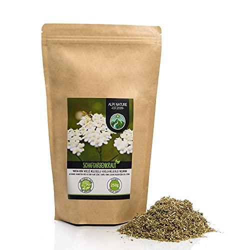 Tè di achillea (250g), tagliato, essiccato delicatamente, achillea pura al 100% e naturale per la preparazione di tè, tisana