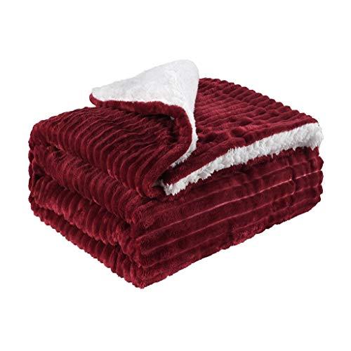 INLLADDY Decke Kuscheldecke Sofadecke Couchdecke extra warm& Dicke Wohndecke super Flauschige fliesdecke Wohnzimmerdecke als Überwurf Rot 150 x 120CM