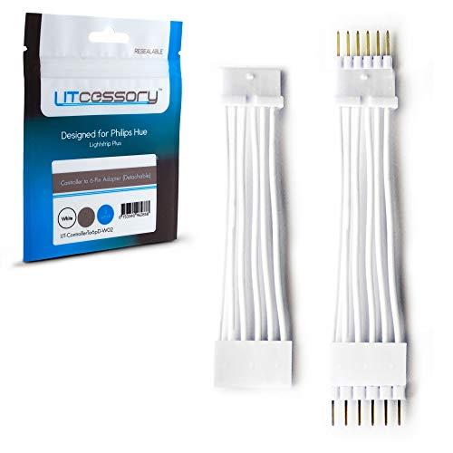 Litcessory Controller a 6-Pin Adattatore per Philips Hue Lightstrip Plus (Versione Cablata, Bianco)