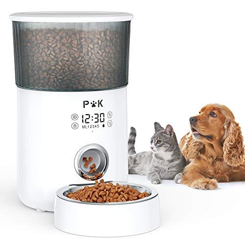 PUPPY KITTY 4L Distributore Automatico Di Cibo Secco Per Cani e Gatti Touch Screen, Con Ciotola In Acciaio Inossidabile, Voce Umana Programmabile 30s da 1 a 5 Pasti, Bianco