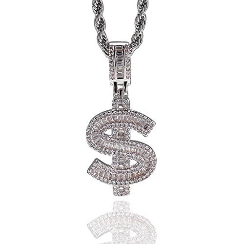 Collares Collar de circonita cúbica para hombres y mujeres Hip Hop Rapper Jewelry Color dorado con dólares durante-silver_24inch (61cm)