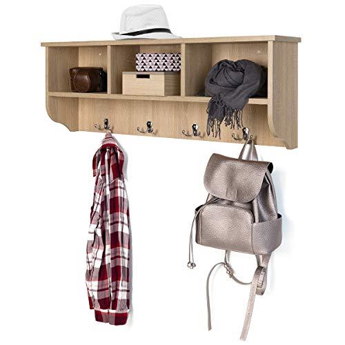 COMIFORT Wandgarderobe - Holzregal mit 4 Haken und 2 Regalböden, Moderner und Minimalistischer Stil, Sehr Solide und Robust, Sonoma-Eiche