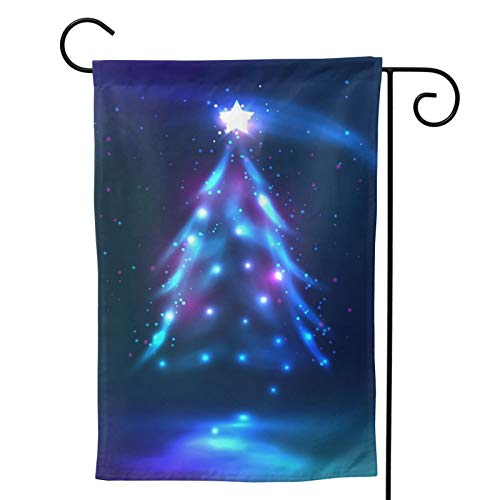 Christmas Tree Dark Glowing Vertical Double Sided Premium Fabric Garden Flag Outdoor Decoration Banner for Yard Lawn