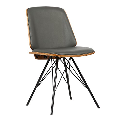Armen Living Inez Dining Chair in Grey Faux Leather and Brushed Stainless Steel Finish